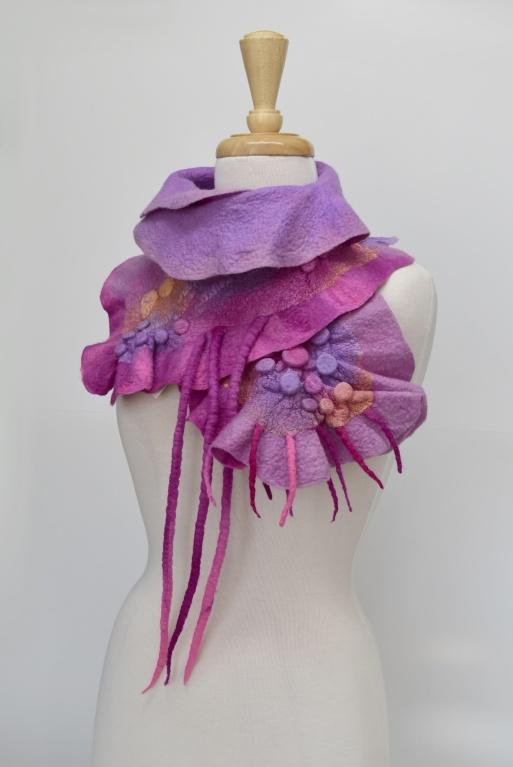 Pink Wool Felt and Silk Scarf